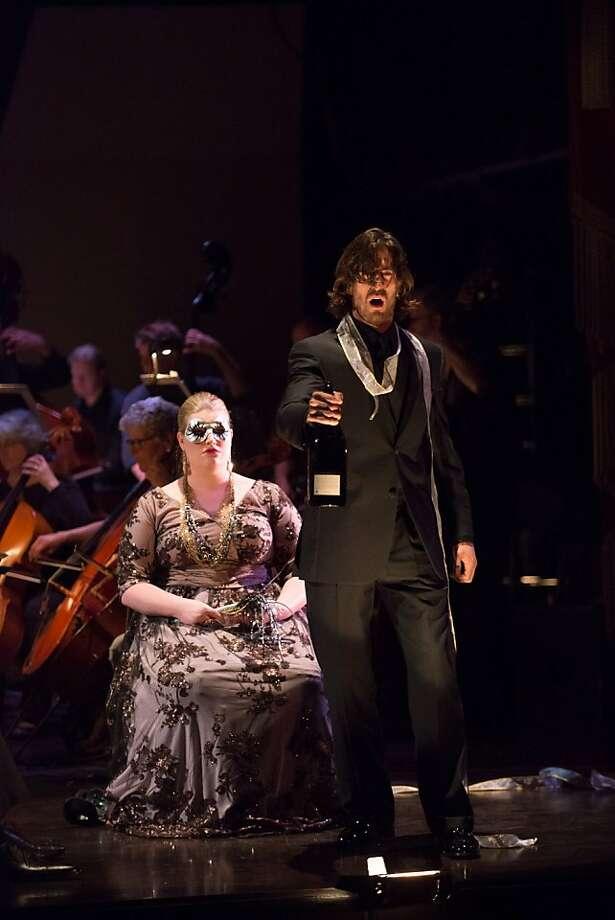 """Mezzo-soprano Erin Johnson (l.) and bass-baritone Hadleigh Adams in a scene from Bizet's """"La Jolie Fille de Perth"""" at Merola Opera Program's Schwabacher Summer Concert Photo: Kristen Loken"""