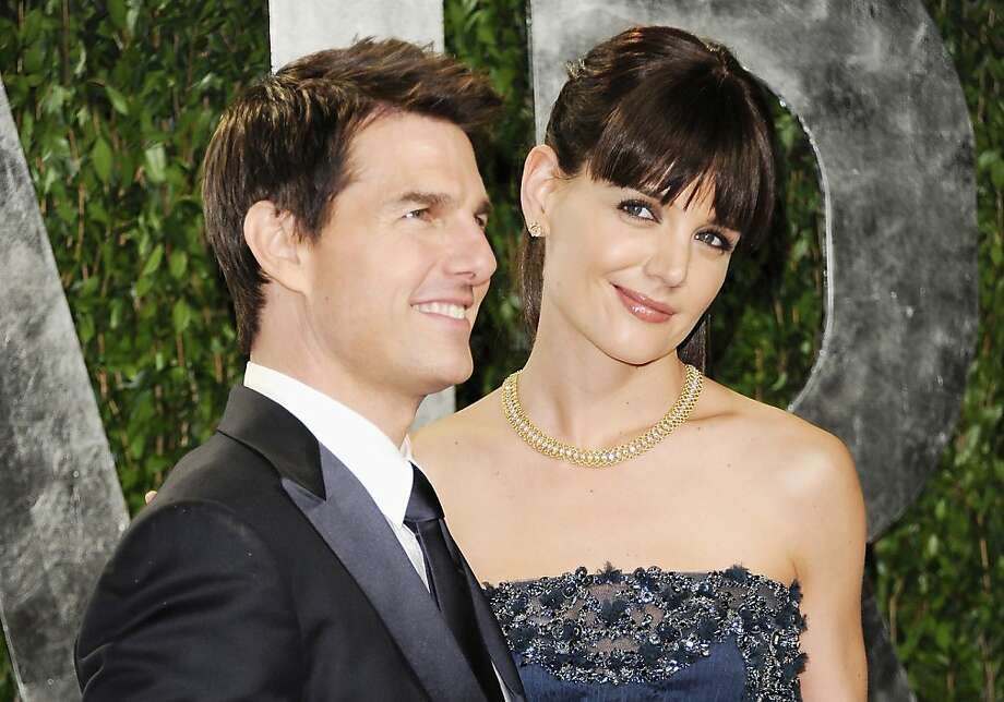 Actors Tom Cruise and Katie Holmes arrive at the Vanity Fair Oscar party on Sunday, Feb. 26, 2012, in West Hollywood, Calif. (AP Photo/Evan Agostini) Photo: Evan Agostini, Associated Press