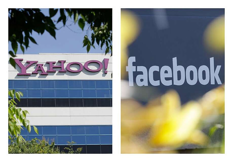 FILE - This combination of 2012 file photos shows the logos of Yahoo, left, and Facebook, outside their offices in Santa Clara, Calif. and Menlo Park, Calif. The two companies have agreed to settle a patent dispute on Friday, July 6, 2012, averting a potentially bitter battle over the technology running two of the Internet's most popular destinations. (AP Photo/Paul Sakuma) Photo: Paul Sakuma, Associated Press