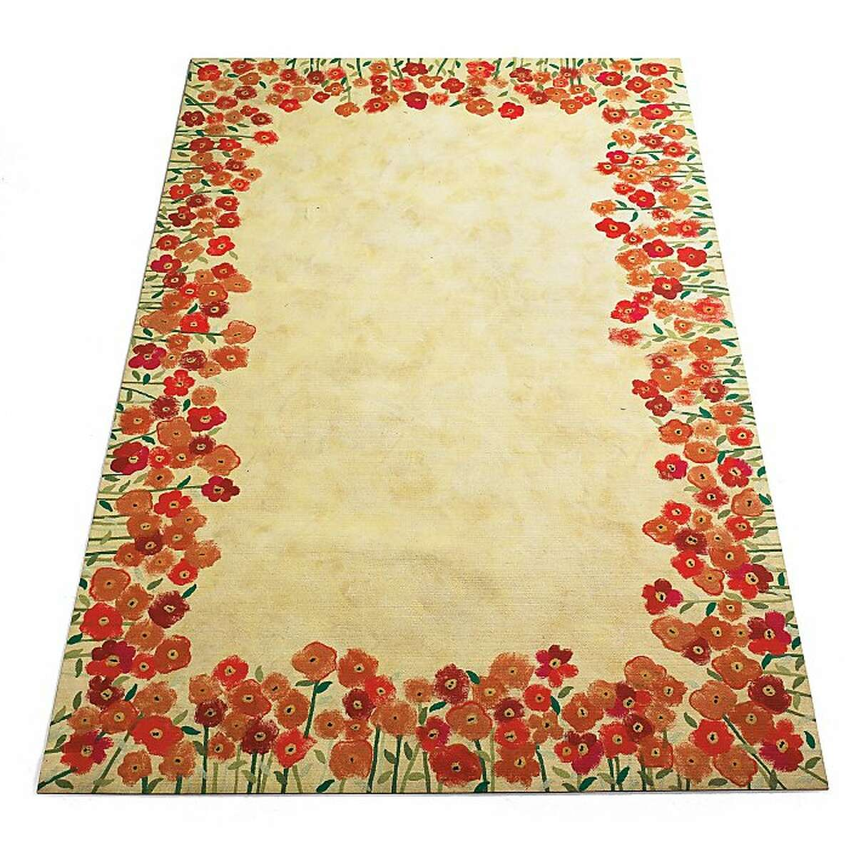 Less: Orange Floral Rugs Less from Grandin Road