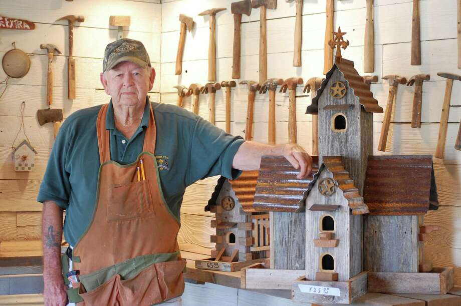 Frank Burt custom-builds elaborates structures at Burt's  Birdhouses in Carmine. Photo: Melissa Ward Aguilar, Houston Chronicle