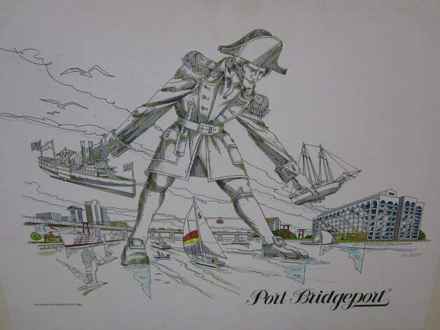 Kaye Williams' idea for a Colossus of Bridgeport sculpture, as drawn by the late Ed Scott, will be included in a City Lights Gallery show that opens on Thursday, July 19. Photo: Contributed Photo