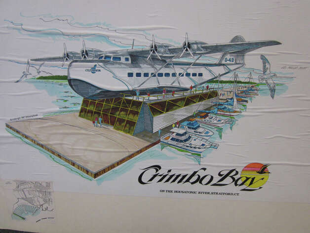 A sketch by the late Ed Scott of Kaye Williams' idea for a Stratford marina, with a Sikorsky airboat as a focal point, will be included in a City Lights exhibit in Bridgeport. Photo: Contributed Photo