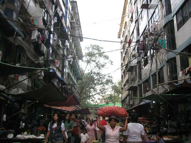 A perpetually crowded market street in the center of Yangon. Photo: David Farley