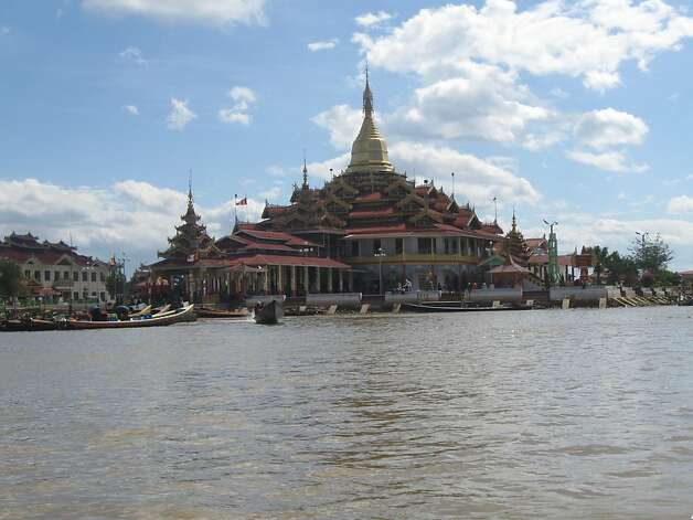 A Buddhist temple sits in the middle of Inle Lake. Photo: David Farley