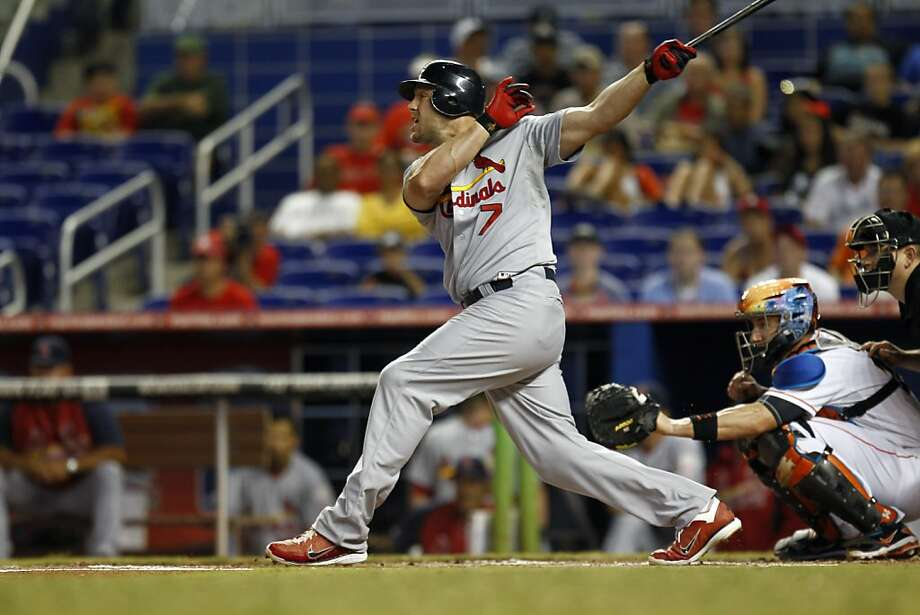 St. Louis Cardinals' Matt Holiday bats during the inning of a MLB baseball game in Miami, Wednesday, June 27, 2012. The Marlins won 5-3. (AP Photo/J Pat Carter) Photo: J Pat Carter, Associated Press