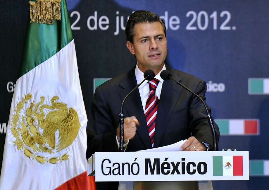 MEXICO CITY, MEXICO - JULY 2:  Presidential candidate Enrique Pena Nieto of the Institutional Revolutionary Party (PRI) speaks during a press conference on July 2, 2012 in Mexico City, Mexico. According to reports, a vote count by the independent Federal Electoral Institute (LIFE) has give Pena Nieto and the PRI the win in the presidential election, but it looks unlikely the will have a majority in either house of Congress.  (Photo by Daniel Aguilar/Getty Images) Photo: Daniel Aguilar, Getty Images