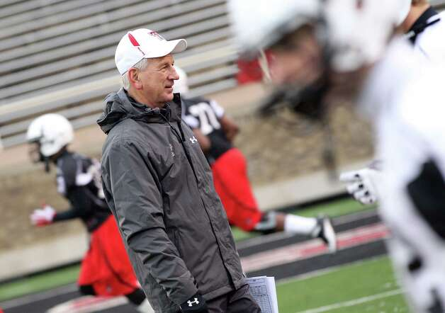 Texas Tech head coach Tommy Tuberville watches during spring NCAA college football practice at Jones AT&T Stadium in Lubbock, Texas, Saturday, Feb. 18, 2012.  (AP Photo/Lubbock Avalanche-Journal, Zach Long) ALL LOCAL TV OUT Photo: AP