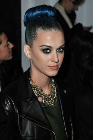Katy Perry in her blue period, at the Yves Saint-Laurent Ready-To-Wear Fall/Winter show in Paris on March 5.  (Pascal Le Segretain / Getty Images)