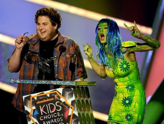 Getting slimed at the Nickelodeon Kids' Choice Awards in 2010 with actor Jonah Hill.   (Kevin Winter / 2010 Getty Images)