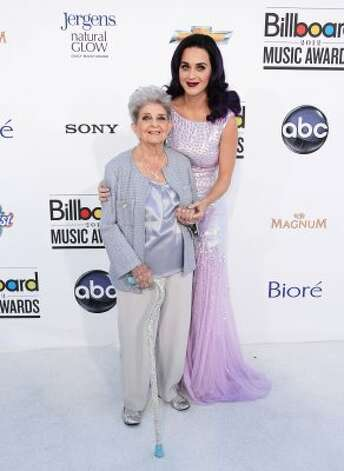 Katy Perry poses with her grandmother at the 2012 Billboard Music Awards in May in Las Vegas.   (Frazer Harrison / 2012 Getty Images)