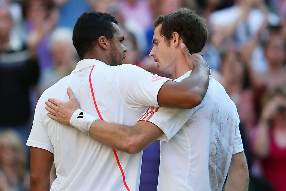 LONDON, ENGLAND - JULY 06:  Andy Murray of Great Britain is congratulated by Jo-Wilfried Tsonga (L) of France after his Gentlemen's Singles semi final match on day eleven of the Wimbledon Lawn Tennis Championships at the All England Lawn Tennis and Croquet Club on July 6, 2012 in London, England.  (Photo by Julian Finney/Getty Images) Photo: Julian Finney, Getty Images