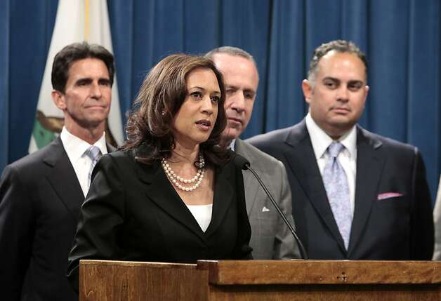 Attorney General Kamala Harris, discusses the homeowners protection legislation package she supported during a news conference  at the Capitol in Sacramento, Calif., July 2, 2012.  Lawmakers approved the bills  that were sent to the governor.  Also seen from left, are Sen. Mark Leno, D-San Francisco, Senate President Pro Tem Darrell Steinberg, D-Sacramento, and Assembly Speaker John Perez, D-Los Angeles, right. (AP Photo/Rich Pedroncelli) Photo: Rich Pedroncelli, Associated Press