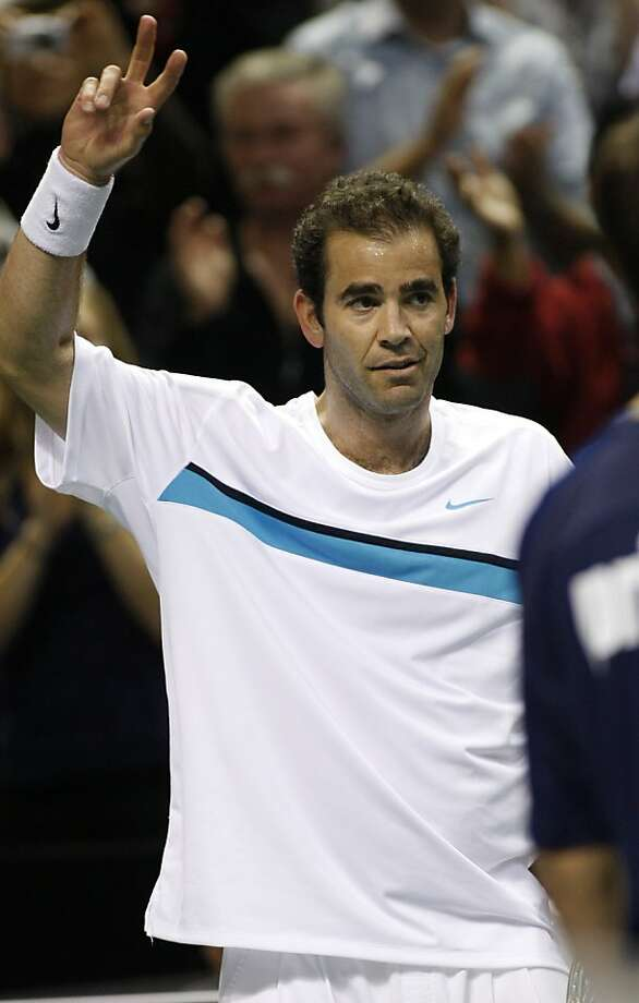 Pete Sampras waves to the audience after an exhibition tennis match against Fernando Verdasco of Spain at the SAP Open, Monday, Feb. 8, 2010 in San Jose, Calif. Verdasco beat Sampras 6-3, 7-6 (2). Photo: George Nikitin, AP