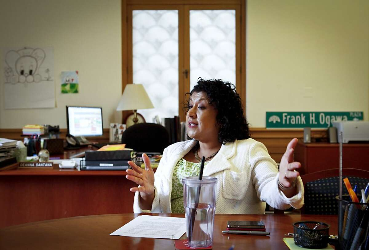 Deanna Santana talks about being the Oakland City Administrator on Friday, June 29, 2012 at City Hall in Oakland, Calif.