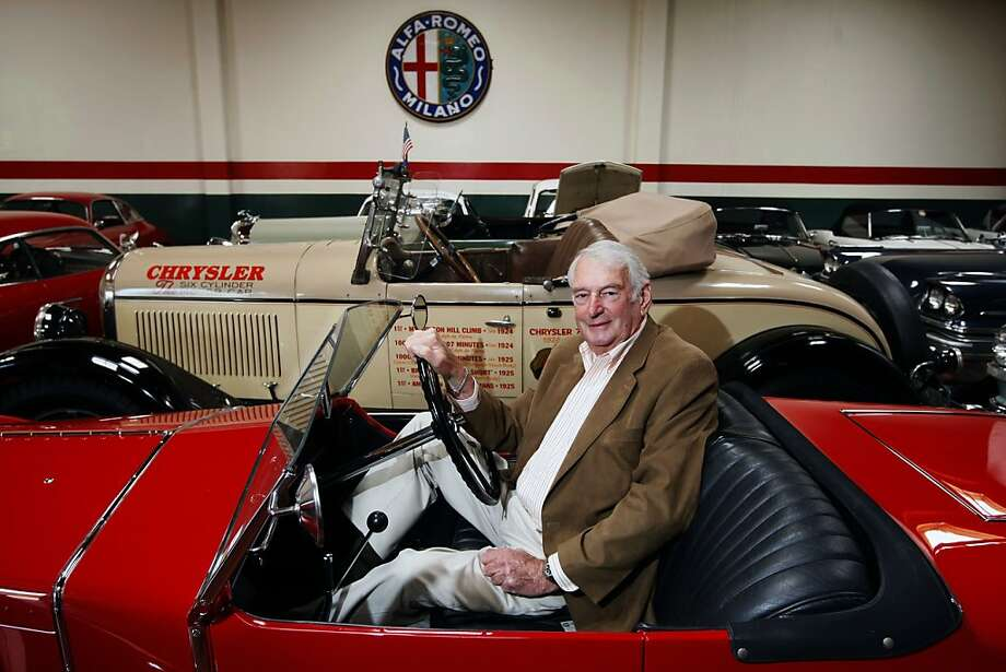 Martin Swig, sits behind the wheel of a 1928 Alfa Romeo 6-C 1500 Zagato Spider. Swig who formerly owned 15 car dealerships in San Francisco, has a collection of classic cars in San Rafael, including 10 Alfa Romeos and five restored Chryslers. Photo: Lance Iversen, The Chronicle