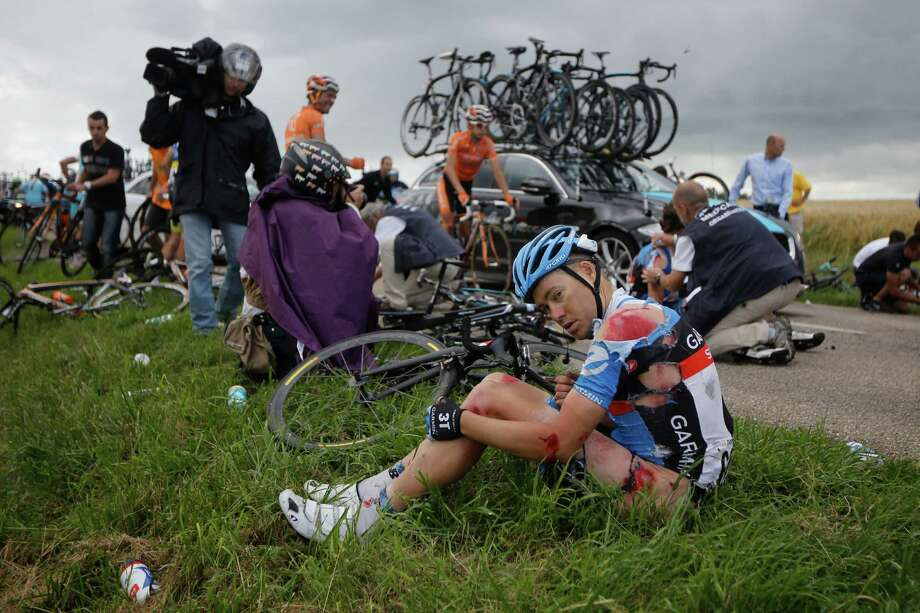 Thomas Danielson was one of about two dozen riders involved in a crash about 16 miles from the finish line Friday during the sixth stage of the Tour de France. Photo: Laurent Cipriani / AP
