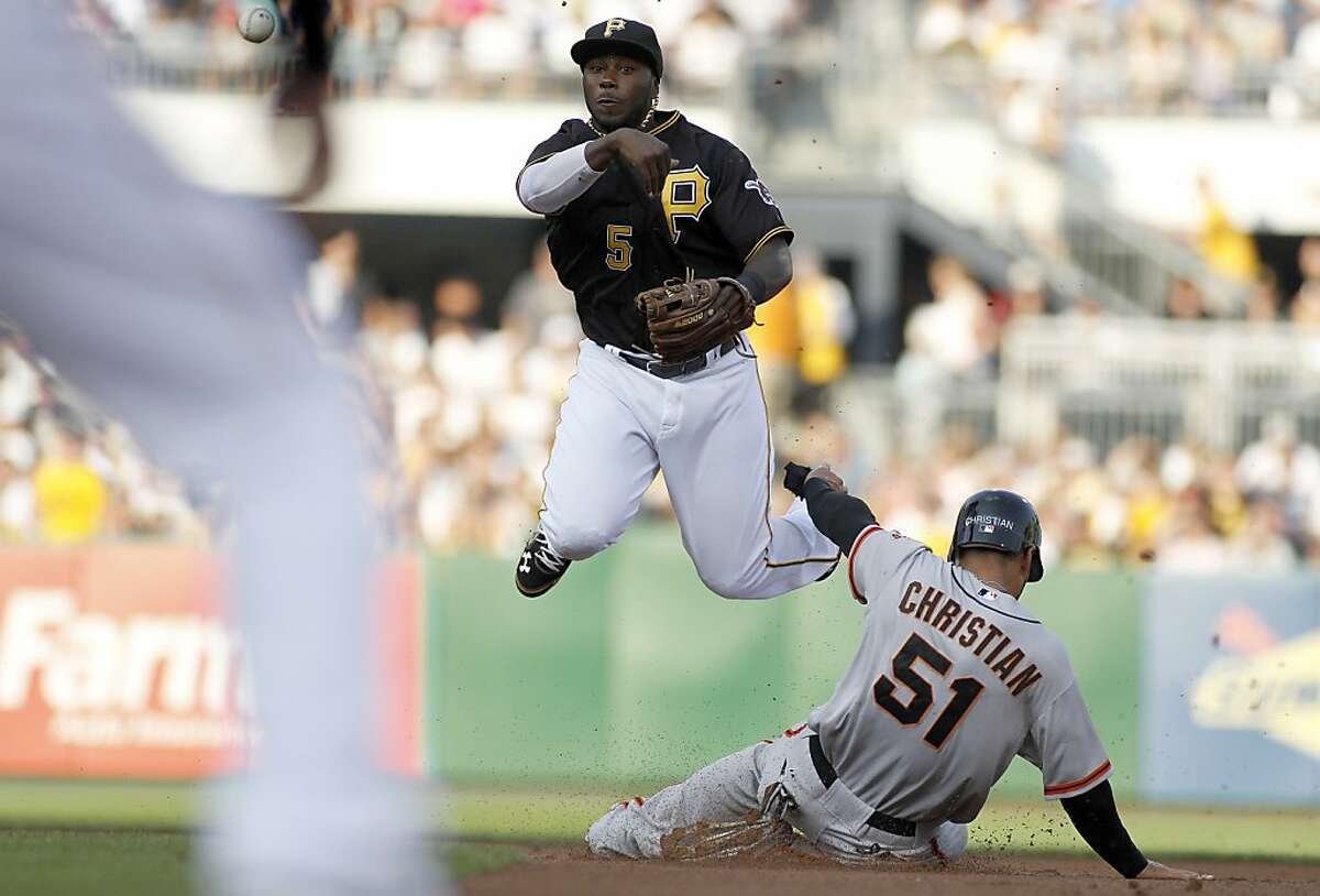 PITTSBURGH, PA - JULY 6: Josh Harrison #5 of the Pittsburgh Pirates turns a double play against Justin Christian #51 of the San Francisco Giants during the game on July 6, 2012 at PNC Park in Pittsburgh, Pennsylvania. (Photo by Justin K. Aller/Getty Images)