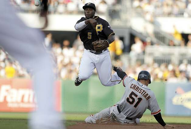 PITTSBURGH, PA - JULY 6:  Josh Harrison #5 of the Pittsburgh Pirates turns a double play against Justin Christian #51 of the San Francisco Giants during the game on July 6, 2012 at PNC Park in Pittsburgh, Pennsylvania.  (Photo by Justin K. Aller/Getty Images) Photo: Justin K. Aller, Getty Images