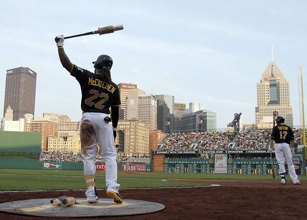 PITTSBURGH, PA - JULY 6:  Andrew McCutchen #22 of the Pittsburgh Pirates warms up in the on deck circle against the San Francisco Giants during the game on July 6, 2012 at PNC Park in Pittsburgh, Pennsylvania.  (Photo by Justin K. Aller/Getty Images) Photo: Justin K. Aller, Getty Images