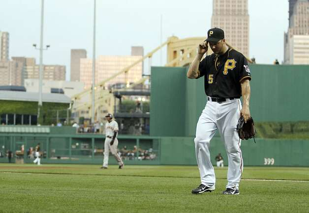 PITTSBURGH, PA - JULY 6:  Erik Bedard #45 of the Pittsburgh Pirates reacts after being taken out of the game in the fourth inning against the San Francisco Giantson July 6, 2012 at PNC Park in Pittsburgh, Pennsylvania.  (Photo by Justin K. Aller/Getty Images) Photo: Justin K. Aller, Getty Images