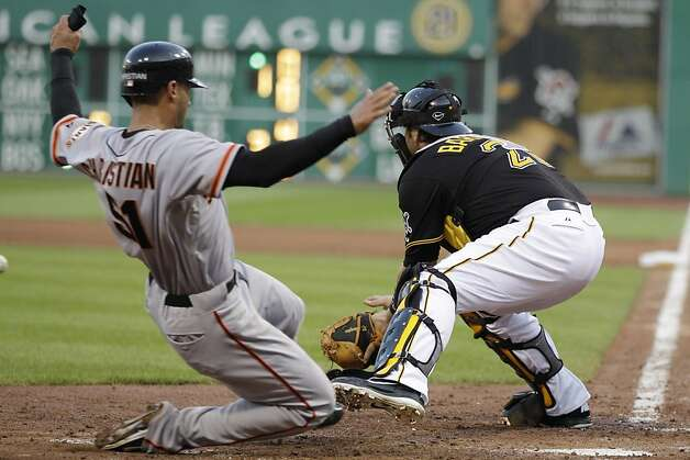 San Francisco Giants' Justin Christian, left, scores on a double to center field by Giants' Ryan Theriot as the throw gets away from Pittsburgh Pirates catcher Rod Barajas during the fourth inning of a baseball game in Pittsburgh Friday, July 6, 2012. (AP Photo/Gene J. Puskar) Photo: Gene J. Puskar, Associated Press