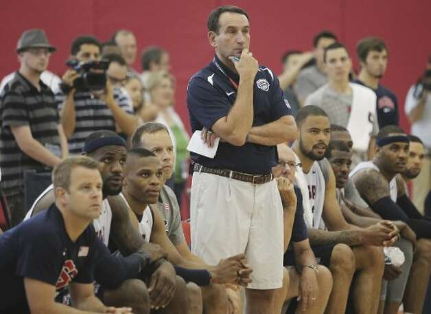 U.S. men's national basketball team coach Mike Krzyzewski, center, watches his team practice at the Mendenhall Center on the UNLV campus in Las Vegas on Friday, July 6, 2012. (Jason Bean / AP Photo/Las Vegas Review-Journal)