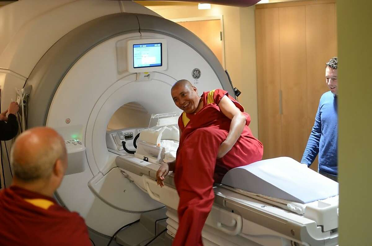 A Buddist monk volunteers for a study at Stanford on the neurological effects of compassion on the brain.
