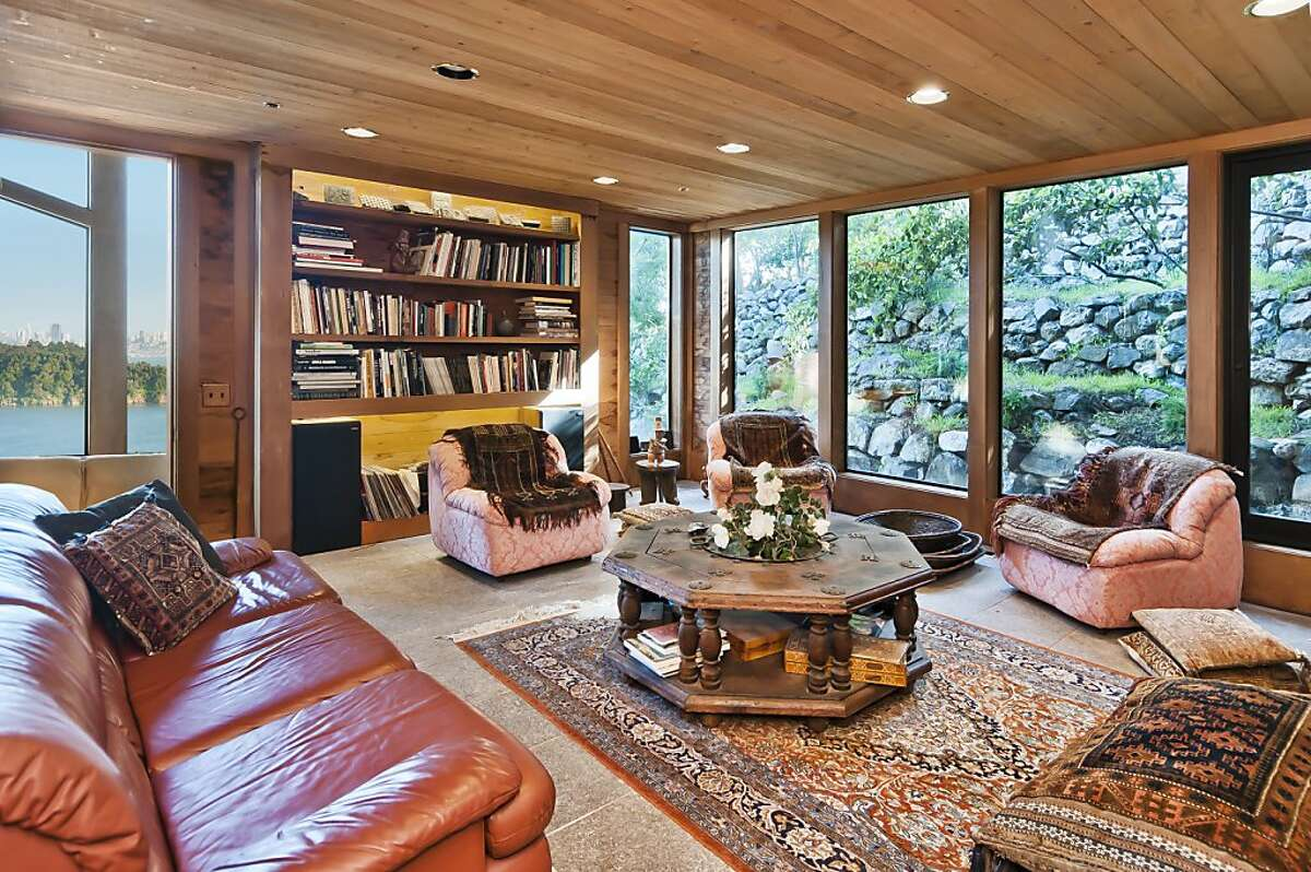 From 'Hill Heaven', the home's library and other rooms offer sweeping views of the San Francisco Bay, Golden Gate Bridge, Angel Island and eastern hilltops.