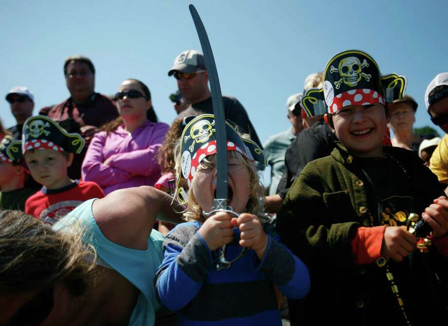 Lucas Moore, 3, yells like a pirate during the Seafair Pirates landing at Alki Beach in Seattle on Saturday, July 7, 2012. The  landing marks the official start of the annual Seafair festival. Photo: Sofia Jaramillo / SEATTLEPI.COM