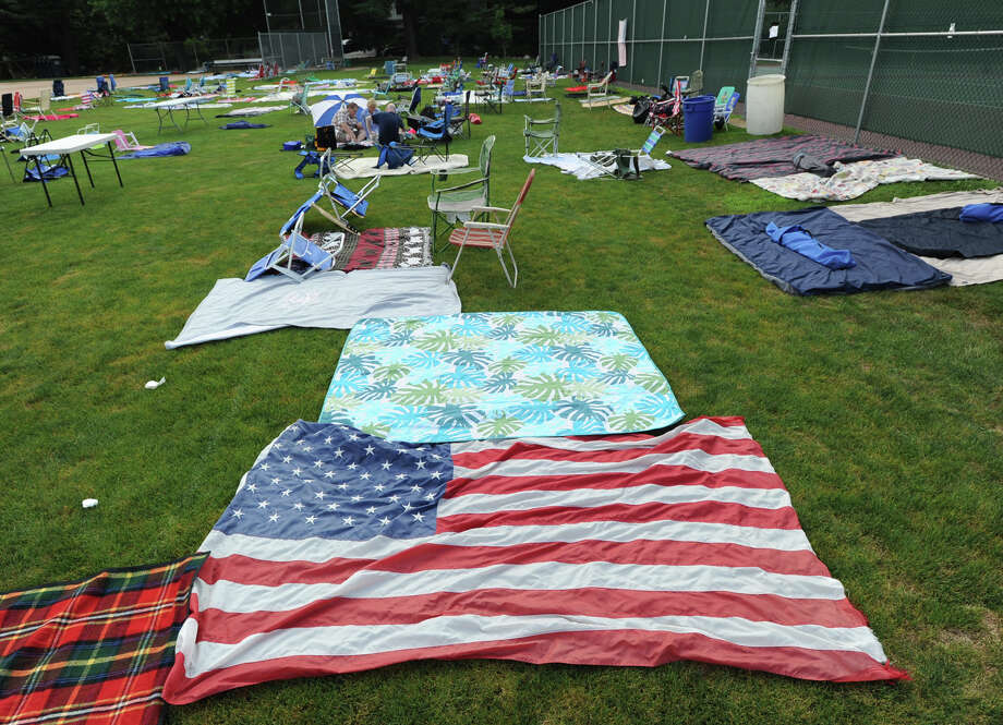An American flag blanket on the ground prior to the town fireworks display at Binney Park in Old Greenwich, Saturday, July 7, 2012. Photo: Bob Luckey / Greenwich Time