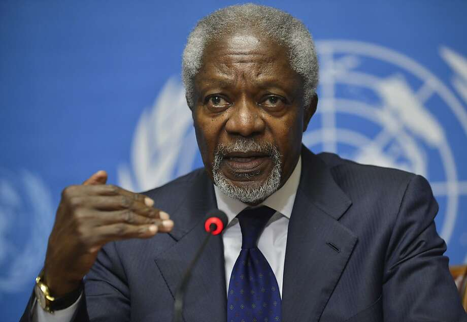 FILE - In this Saturday, June 30, 2012 file photo, Kofi Annan, Joint Special Envoy of the United Nations and the Arab League for Syria speaks during a news conference following the Action Group on Syria meeting in the Palace of Nations, at the United Nations' Headquarters in Geneva, Switzerland. Special U.N. envoy Kofi Annan acknowledged in an interview published Saturday, July 7, 2012 that the international community's efforts to find a political solution to the escalating violence in Syria have failed. Annan also said that more attention needed to be paid to the role of longtime Syrian ally Iran, and that countries supporting military actors in the conflict were making the situation worse. (AP Photo/Martial Trezzini, Keystone, File) Photo: Martial Trezzini, Associated Press