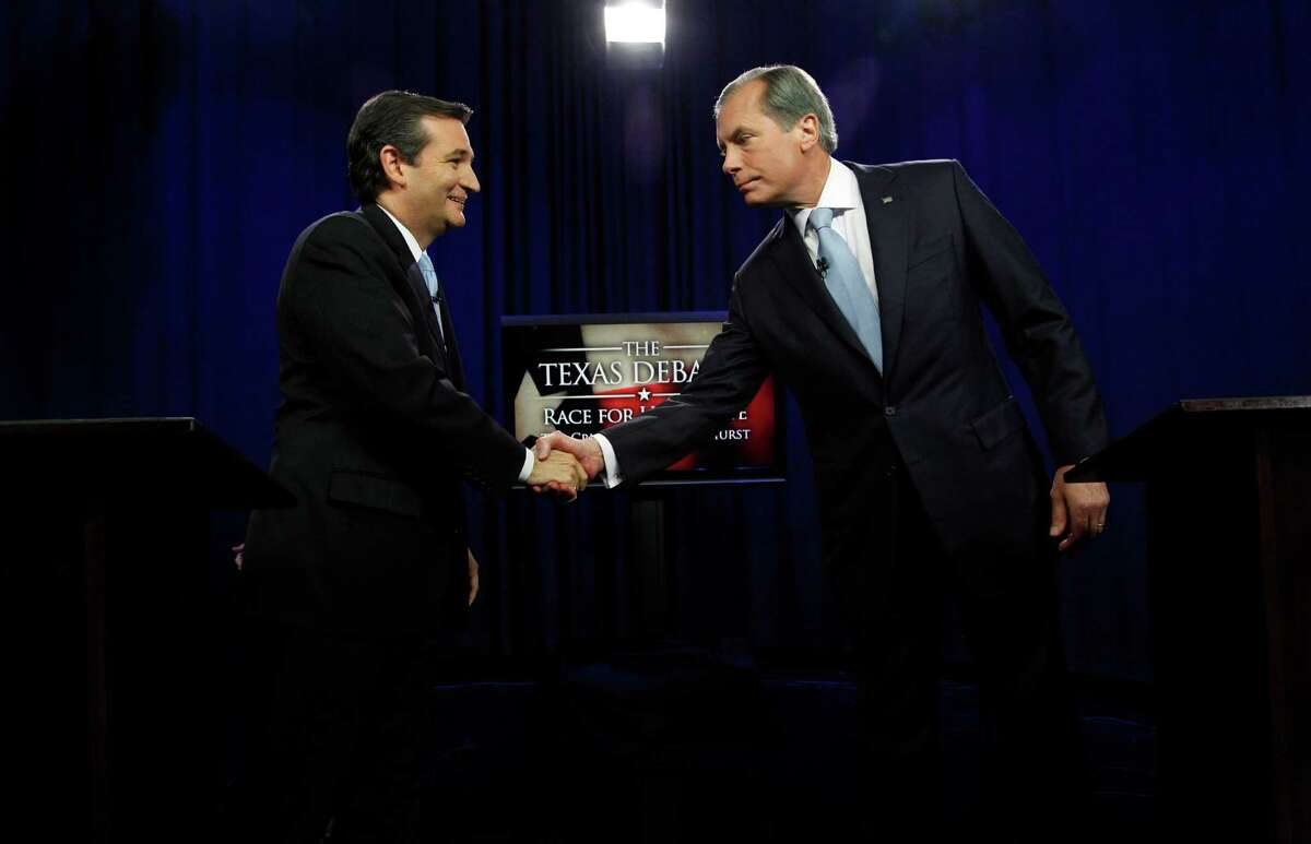 U.S. Senate Candidates Ted Cruz, left, and Texas Lt. Gov. David Dewhurst shake hands before their televised debate in Dallas, Texas, Friday, June 22, 2012. Cruz and Dewhurst are locked in a runoff fight for the Republican nomination to fill Texas' open U.S. Senate seat.