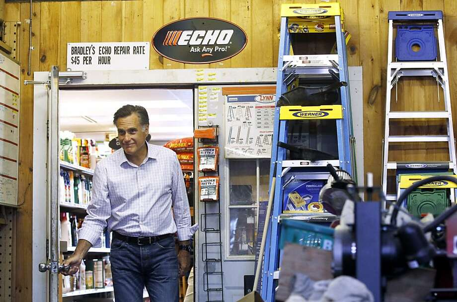 Republican presidential candidate, former Massachusetts Gov. Mitt Romney arrives to speak about job numbers, Friday, July 6, 2012, at Bradley's Hardware in Wolfeboro, N.H. (AP Photo/Charles Dharapak) Photo: Charles Dharapak, Associated Press