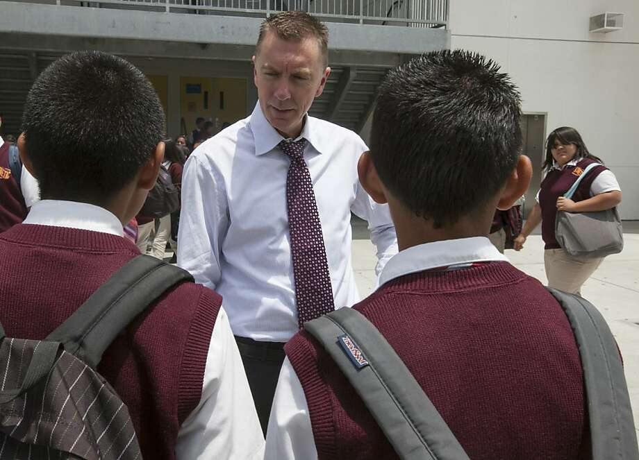 In this photo taken Thursday, June 14, 2012 Los Angeles Unified School District LAUSD Superintendent John Deasy tours the district in Los Angeles. Developing school leadership is a cornerstone of Deasy's strategy to reform Los Angeles Unified School District and sorting through principals underscores his philosophy that nothing in the sprawling district is too minute to warrant his attention. (AP Photo/Damian Dovarganes) Photo: Damian Dovarganes, Associated Press