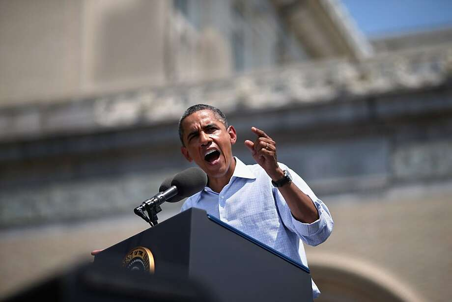 """PITTSBURGH, PA - JULY 06: U.S. President Barack Obama speaks at a campaign event on the College of Fine Arts Lawn at Carnegie Mellon University July 5, 2012 in Pittsburgh, Pennsylvania. The Obama campaign wrapped up its """"Betting On America"""" bus tour through Northern Ohio and Western Pennsylvania on Friday. The president continued to highlight his administration's efforts to improve the economy by creating manufacturing jobs and rescuing the American auto industry while taking swings at the presumptive Republican presidential nominee, former Massachusetts Gov. Mitt Romney. (Photo by Chip Somodevilla/Getty Images)   *** BESTPIX *** Photo: Chip Somodevilla, Getty Images"""