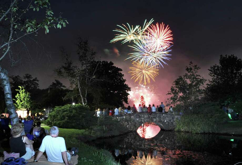 The town fireworks display at Binney Park in Old Greenwich, Saturday night, July 7, 2012. Photo: Bob Luckey / Greenwich Time