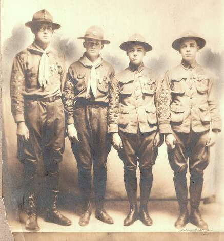 Members of the Greenwich Council of Boy Scouts America's Troop 9, the oldest Greenwich troop, pose upon receiving their Eagle Scout designation, the highest scouting honor, in 1921. Pictured, from left, are Whiteman Reynolds, Haldane Huckel, Frank Snell and George Snell. Photo: Contributed Photo