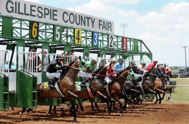 Quarter horses and jockeys bust of the gate during pari-mutuel racing at the Gillespie County Fairgrounds in Fredericksburg on Saturday, July 7, 2012. Photo: Billy Calzada, San Antonio Express-News / © 2012 San Antonio Express-News