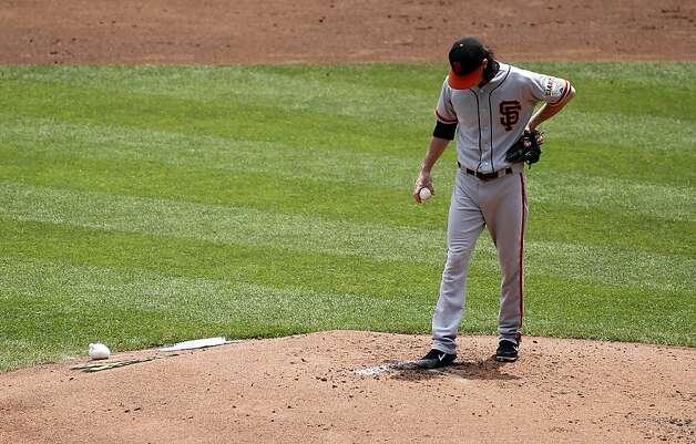Tim Lincecum #55 of the San Francisco Giants takes a moment during the game against the Pittsburgh Pirates on July 8, 2012 at PNC Park in Pittsburgh, Pennsylvania. Photo: Justin K. Aller, Getty Images