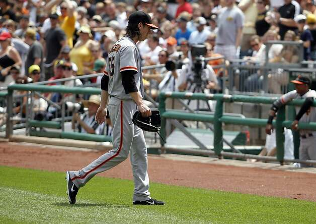 PITTSBURGH, PA - JULY 8:  Tim Lincecum #55 of the San Francisco Giants walks to the dugout after being pulled in the fourth inning against the Pittsburgh Pirates during the game on July 8, 2012 at PNC Park in Pittsburgh, Pennsylvania.  (Photo by Justin K. Aller/Getty Images) Photo: Justin K. Aller, Getty Images
