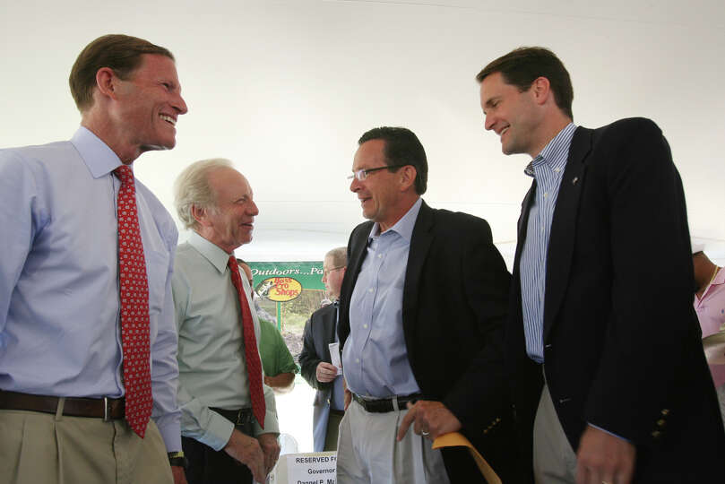 Dignitaries, from left, Senator Richard Blumenthal, Senator Joseph Lieberman, Governor Dannel Malloy