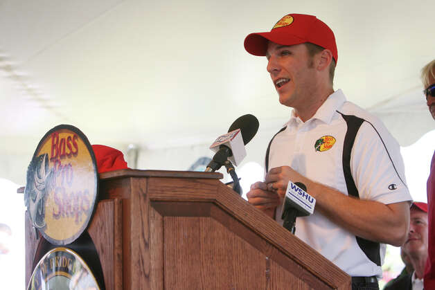 Daytona 500 winner and NASCAR(R) driver Jamie McMurray speaks at an event to announce Bass Pro Shops as the first tenant in the Steel Point redevelopment in Bridgeport on Sunday, July 8, 2012. Photo: B.K. Angeletti / Connecticut Post freelance B.K. Angeletti