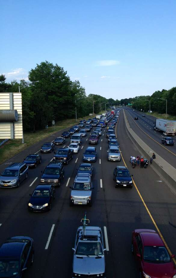 Interstate-95 southbound was closed near Exit 9 Sunday evening by an accident that sent at least one person to the hospital, according to Connecticut State Police. Photo: John Breunig