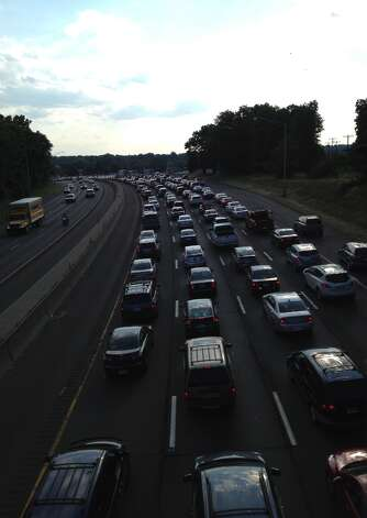 Interstate-95 southbound was closed near Exit 9 Sunday evening by an accident that sent at least one person to the hospital, according to Connecticut State Police. Photo: St0709staccident-02