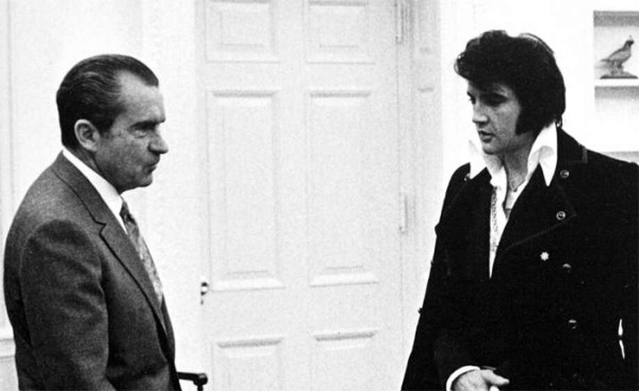 When President Richard Nixon met Elvis Presley. An awkward meeting, even by Nixon standards. (seattlepi.com file)