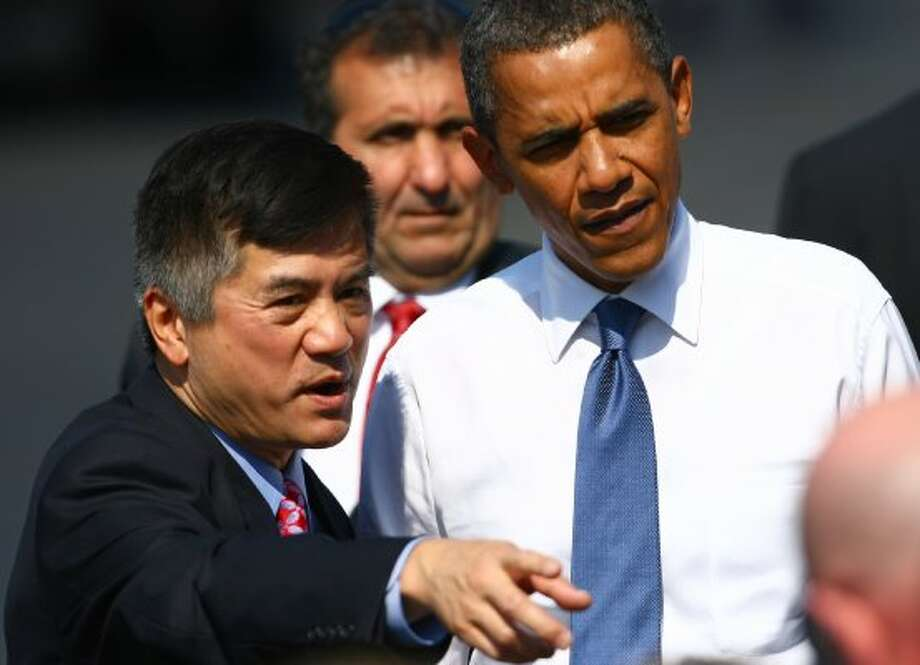 It's then-Commerce Secretary Gary Locke, now ambassador to China and former governor of Washington, with President Barack Obama in August of 2010. Locke also served as the Governor of Washington, King County Executive, and as Washington Representatives. Locke also attended Franklin High School.