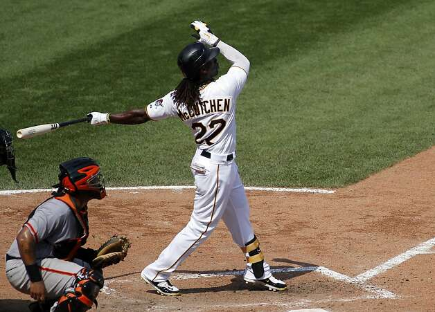 PITTSBURGH, PA - JULY 8: Andrew McCutchen #22 of the Pittsburgh Pirates hits a two run home run in the seventh inning against the San Francisco Giants during the game on July 8, 2012 at PNC Park in Pittsburgh, Pennsylvania. The Pirates defeated the Giants 13-2. (Photo by Justin K. Aller/Getty Images) Photo: Justin K. Aller, Getty Images