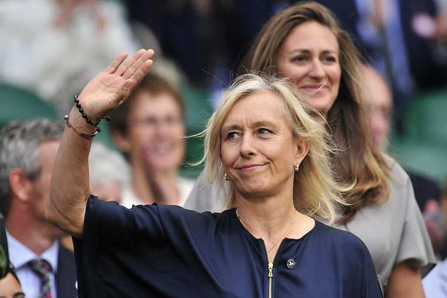 Former Wimbledon women's singles champion Martina Navratilova in the Royal Box before play on day six of the 2012 Wimbledon Championships tennis tournament at the All England Tennis Club in Wimbledon, southwest London, on June 30, 2012. AFP PHOTO / GLYN KIRK    RESTRICTED TO EDITORIAL USEGLYN KIRK/AFP/GettyImages Photo: Glyn Kirk, AFP/Getty Images