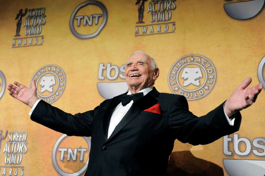 FILE - In this Jan. 30, 2011, file photo, Ernest Borgnine poses backstage after receiving the life achievement award at the 17th Annual Screen Actors Guild Awards in Los Angeles. A spokesman said Sunday, July 8, 2012, that Borgnine has died at the age of 95. (AP Photo/Chris Pizzello, File) Photo: Chris Pizzello